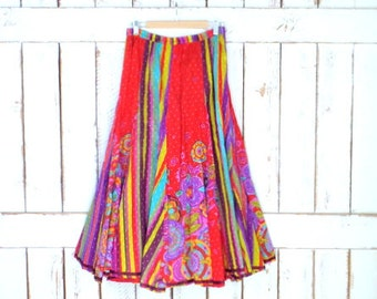 Striped floral tribal Indian print boho flowy maxi skirt/vintage hippie festival gypsy skirt/red/yellow/pink skirt