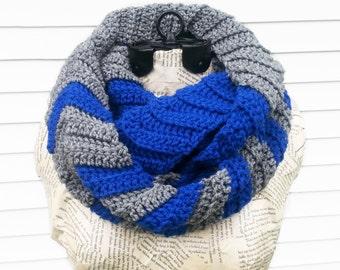 Crochet Chevron Scarf - Blue & Grey Chevron Infinity Scarf - Royal Blue Striped Scarf - Gray Chevron Infinity Cowl - Blue and Gray Scarf