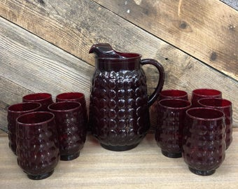 Ruby Red Bubble Pitcher & Ten Glasses