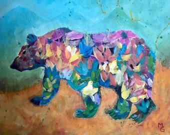 Flower Black Bear 8x10 wrapped canvas original paintng