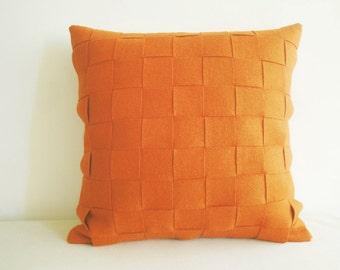 Orange Felt Cushion Cover, Orange Felt Pillow , Decorative Pillow, Accent Throw Pillow