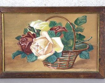 French Vintage Painting of Roses Signed by Artist Shabby Chic Roses