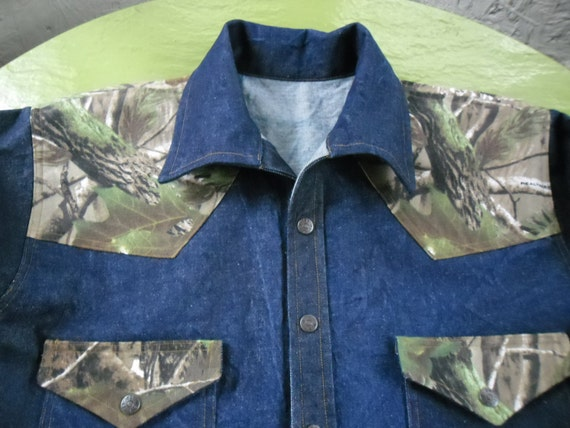 S,M,& L , XLCustom made Western style denim shirt/jacket with carhart yoke