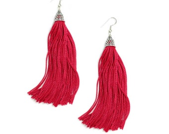 The Fringes - Sterling Silver & Rayon Earrings - The Vivid Red