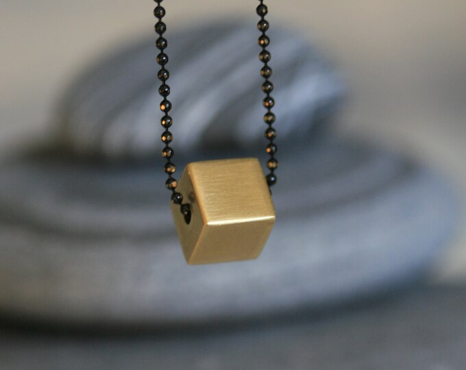 Solid Brass Cube Bead Necklace | Geometric | Minimalist | Gift