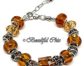 Autumn Glass European Style Charm Bracelet