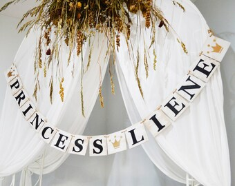 Wooden Princess banner, Rustic party decor, Home wall decor, wooden custom party banner, wooden garland, garland, custom banner