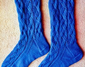 Tricotés à la main Womens grand socquettes mélange laine-Cachemire XL (S-252)