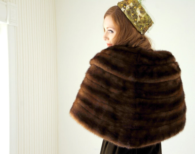 Vintage 1950s fur stole, brown striped wrap, 1940s shawl shrug