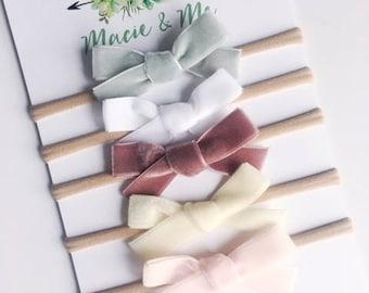 Velvet Hand Tied Bow Hair Clip or Headband / Sage, White, Merlot, Cream, Blush / Nylon Headband / Macie and Me