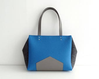 Blue Gray Felt Leather Handbag
