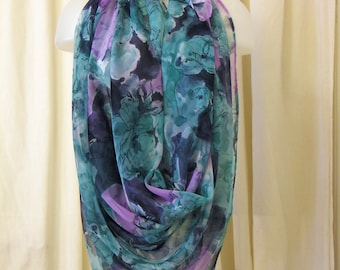 VINTAGE 1980's Scarf, Oversize Scarf, Square Scarf, Large Chiffon Scarf in Blues, Lavender & Teal Floral Print