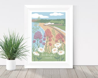 Nature print, Goodrington Beach in Paignton, Devon illustration, coastal print, Pink Valerian and Ox Eye Daisies, botanical print