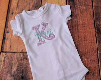 Baby girls clothing etsy sg monogrammed baby girl bodysuit personalized baby girl bodysuit monogrammed baby shower gift personalized negle Image collections
