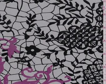 "43"" Grey Lace Print Silk Jersey Knit-Wholesale by the Yard (43982)"