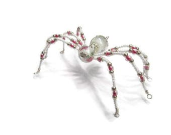 Christmas Spider Sun Catcher White and Pink Glass Bead Ornament  {132}