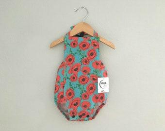 Poppy Flower Baby Romper | Cotton Halter Romper | Infant, Newborn, Girl, Toddler | sizes newborn - 18/24m