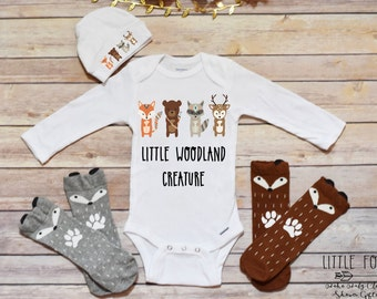 Baby Boy Outfit, Woodland Creatures Baby Shower Gift