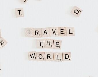 Scrabble Tiles Travel The World Art Print Wall Decor Image Detail - Unframed Poster
