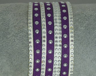 Purple and white suede Cuff Bracelet