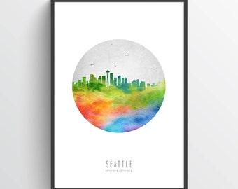 Seattle Skyline Poster, Seattle Cityscape, Seattle Print, Seattle Art, Seattle Decor, Home Decor, Gift Idea, USWASE20P