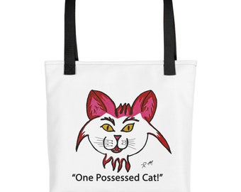 White Pink Cat Lover One Possessed Cat Love Cats Tote Bag