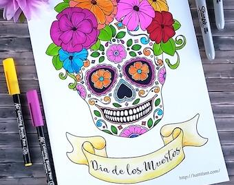 Day of the Dead - Día de los Muertos - Sugar Skull Coloring Page and Greeting Card Bundle