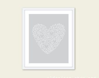 Love Heart Digital Art Print - Heart Wall Art - Light Grey Nursery Decor