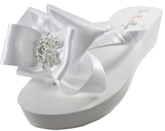 Wedding Bride Bridal Flip Flops, Your feet will love these fabulous flip flops for the wedding with Vintage Flower rhinestone bling