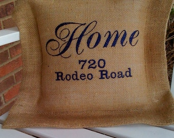 Embroidered Burlap Pillow for address, family, special dates, you name it