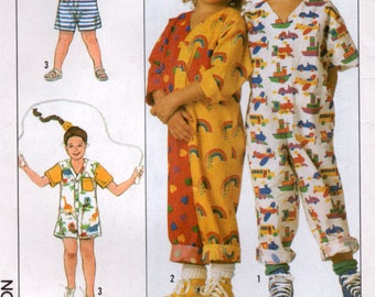 Vintage 80s Easy Childs Jumpsuit in 2 lengths  Sewing pattern Size SM Simplicity 9127