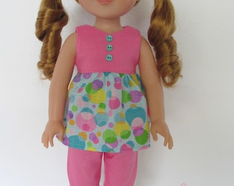 Pink/Blue Bubble Print Outfit, Includes Ruffled Top, Capri Pants, Shoes, fits 14.5 inch dolls like AG Wellie Wishers