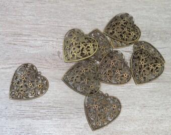 Heart pendant, 40 x 40mm engraving filigree bronze, gold, romantic love, nickel free
