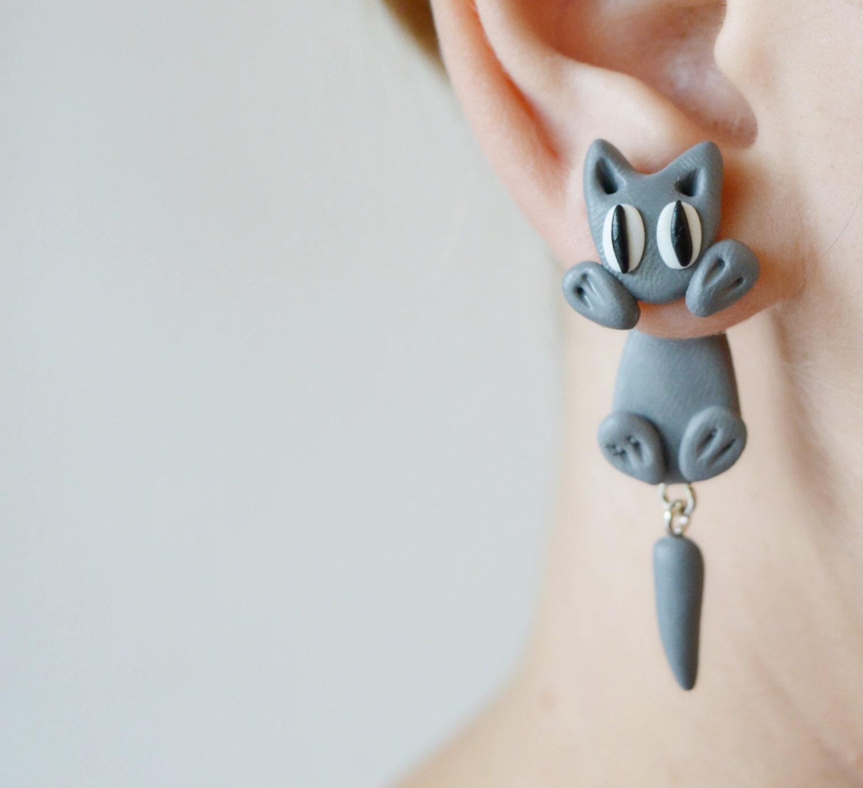 cat earrings cat front back earring unique earrings dangle