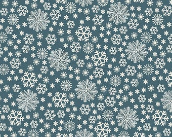Christmas Fabric - Jolly Penguin & Friends Blue White Snowflake - Benartex YARD