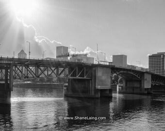 Portland / Photo / Sunlight on the Morrison Bridge / Fine Art / Black and White