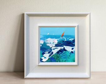 Abstract Ocean Art Canvas Oil, Sailing Painting, Ocean Wave Art, Ocean Blue Wall Art, Ocean Canvas Wall Art, Sea Painting, Sailing Art Gift