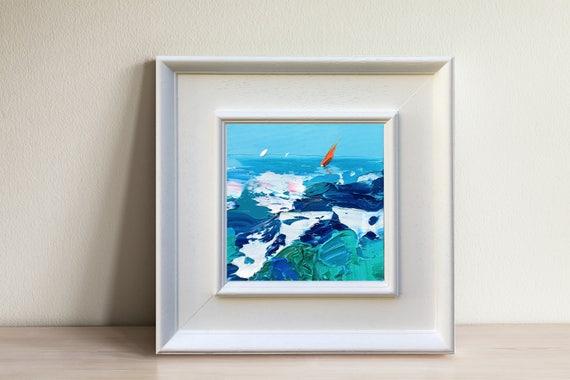 Ozean abstrakte Kunst Leinwand Öl Segeln Malerei Meer Wellen
