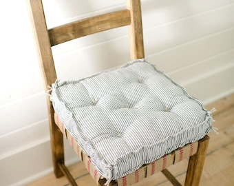 Tattered Chair Cushion   Seersucker Cotton   Tufted Cushion   Farmhouse  Cushion   French Mattress   Custom Cushion   Bench Cushion