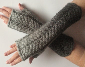 Fingerless Gloves Gray Asphalt Dark Grey wrist warmers