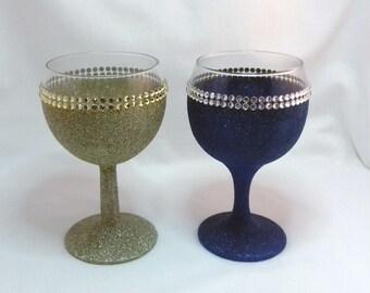 Wine Glass Glitter Double Diamante