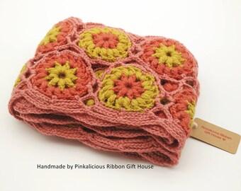 Crochet Woman Scarf/ Wool Scarf/ Flower Granny/ Neckwarmer/ Granny Scarf