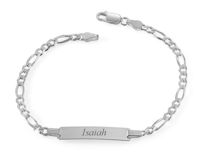 """Personalised 925 Sterling Silver Baby 6"""" Figaro Chain ID Bracelet Engraved Name"""