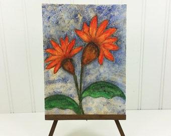 Deux fleurs Orange - lunatique abstrait peinture Original texturé Floral Mixed Media