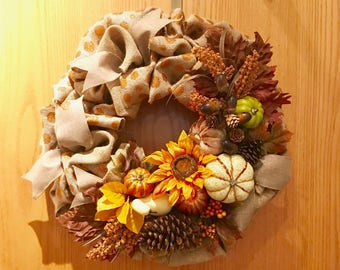 Fall Burlap Wreath, Fall Door Wreath, Autumn wreath,Fall Door Decor, Thanksgiving Wreath, Burlap Wreath