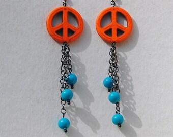 Dangle Earrings - Orange and Turquoise - Retro Orange Peace Sign and Vintage Lucite Bead Dangle Earrings - Orange Howlite - R54