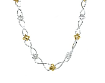 925 Sterling Silver Delicate Twist in Infinity Gold Plated Necklace 18 inches