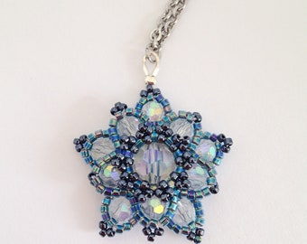 Titania pendant in crystal and blue - flower necklace - star jewelry - sparkling statement - bridesmaid - fairy fantasy - elvish wedding