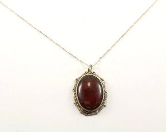 Vintage Oval Carnelian Stone Pendant Necklace 925 Sterling Silver NC 913