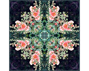 Mandala Print, Zen Art, New Age Wall Decor, Abstract Art,  Meditation Print, Garden Kaleidoscope, Coral Decor